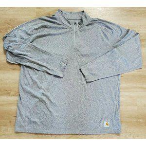 Carhartt Mens Force 1/4 Zip Gray Shirt 2XL Tall